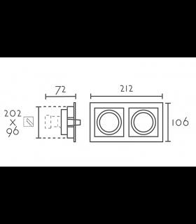 Medidas: Aro Empotrable rectangular 2L blanco RCGUR2 GU10 212mm