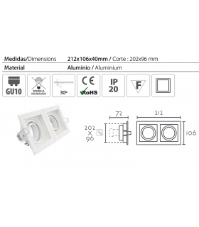Características: Aro Empotrable rectangular 2L blanco RCGUR2 GU10 212mm