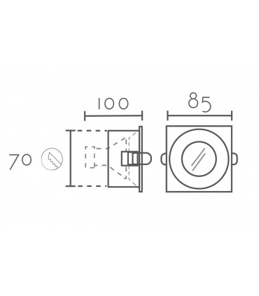 Dimensiones: Aro Empotrable cuadrado fijo blanco SH121 IP65 85mm