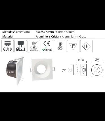 Características: Aro Empotrable cuadrado fijo blanco SH121 IP65 85mm