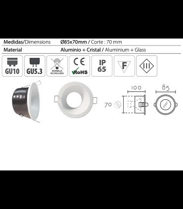 Características: Aro Empotrable redondo fijo blanco FH121 IP65 Ø85mm