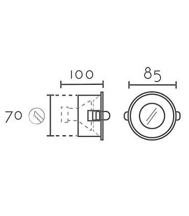 Medidas: Aro Empotrable redondo fijo blanco FH121 IP65 Ø85mm