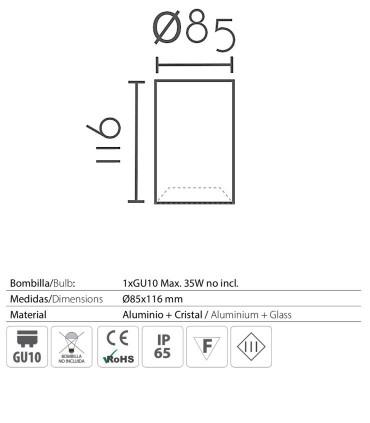 Características: Foco superficie redondo fijo blanco IP65 Ø85mm 1020C02