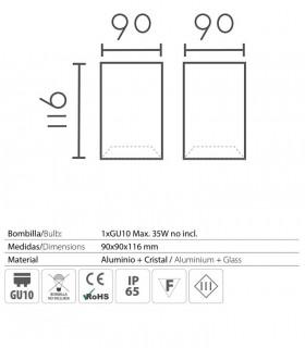 Características: Foco superficie cuadrado fijo blanco IP65 90mm 1022C02