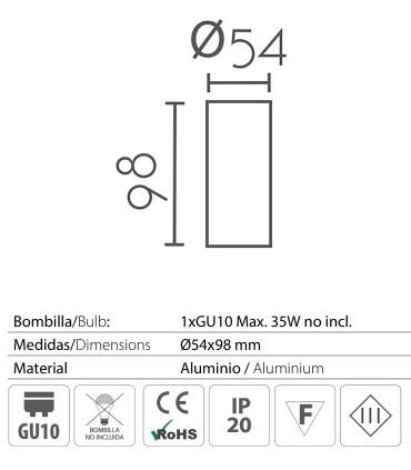 Características: Foco superficie redondo fijo blanco Ø54mm GU10 MX8116