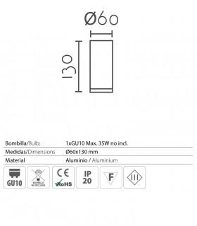 Características Foco superficie redondo fijo blanco o negro Ø60mm GU10 MX8104