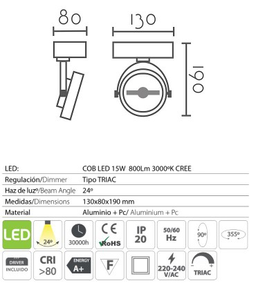 Características: Foco superficie led 15W orientable blanco - negro MX1130
