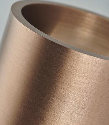 Detalle de espesor de aluminio cepillado. Aplique Zero W2 oro rosa Ø80mm - LIGHT POINT