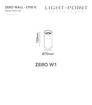Dimensiones Aplique Zero W1 negro Ø70mm - LIGHT POINT