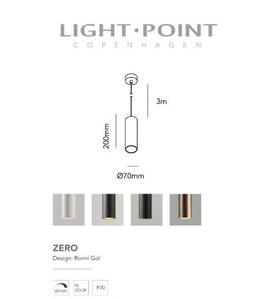 Dimensiones: Lámpara Colgante Zero S1 oro rosa Ø70mm - LIGHT POINT