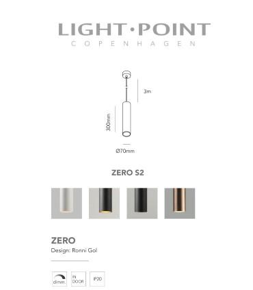 Dimensiones: Lámpara Colgante Zero S2 oro rosa Ø70x300mm - LIGHT POINT