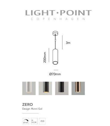 Dimensiones: Lámpara Colgante Zero S1 blanco, negro, negro/oro Ø70x200mm - LIGHT POINT