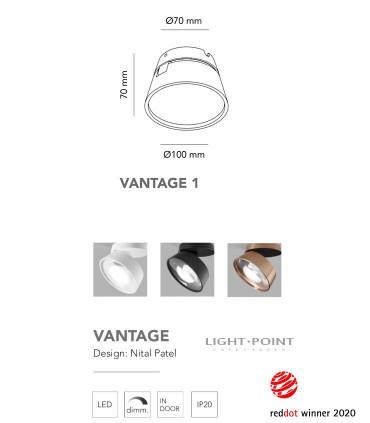 Dimensiones: Foco orientable VANTAGE 1 blanco, negro Ø100mm - LIGHT POINT