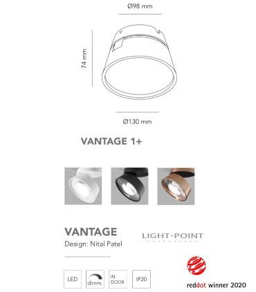 Dimensiones: Foco orientable VANTAGE 1+ blanco, negro Ø130mm - LIGHT POINT