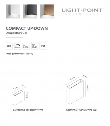 Aplique Compact Up/Down Blanco, Negro W2  Med - LIGHT POINT