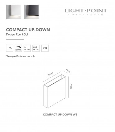 Dimensiones: Aplique Compact Up/Down Blanco, Negro W3  Grande - LIGHT POINT