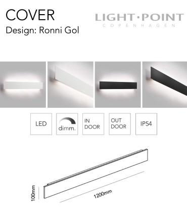Dimensiones: Aplique Cover W2 120cm Blanco, Negro  - LIGHT POINT