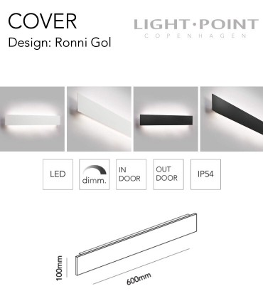 Dimensiones: Aplique Cover W1 60cm Blanco, Negro  - LIGHT POINT