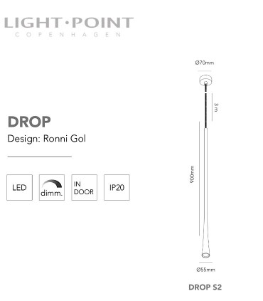 Dimensiones: Colgante Drop S2 oro rosa 90cm - LIGHT POINT