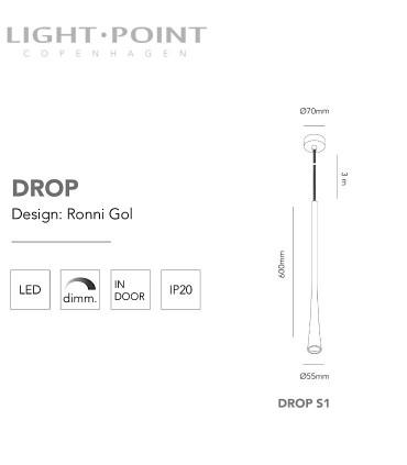Dimensiones: Colgantes Drop S1 negro, oro 60cm - LIGHT POINT