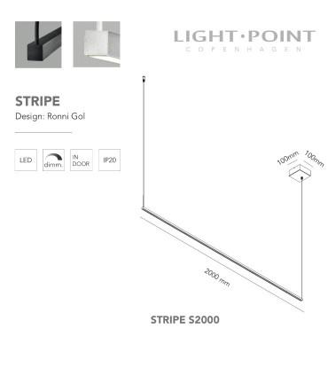 Dimensiones: Lámpara Colgante Stripe S2000 negro, blanco 2m - LIGHT POINT