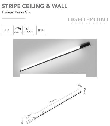 Dimensiones: Aplique-Plafón Stripe C/W S1500 negro 150cm - LIGHT POINT