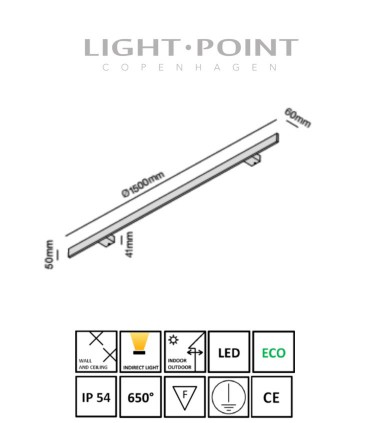 Dimensiones: Aplique Stick 150 Blanco, Negro, Oro 150cm- LIGHT POINT