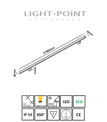 Dimensiones: Aplique Stick 180 Blanco, Negro, Oro 180cm- LIGHT POINT