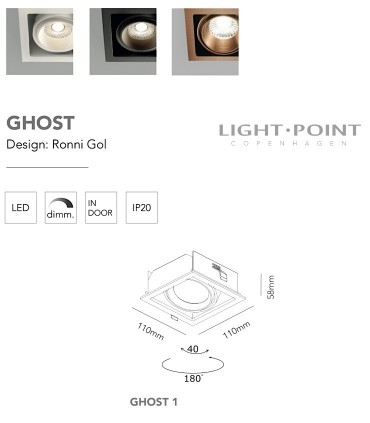 Medidas: Foco Empotrable Ghost 1 Led 1L 110mm blanco, negro - LIGHT POINT