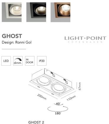 Dimensiones: Foco Empotrable Ghost 2 Led 2L 12W oro rosa - LIGHT POINT