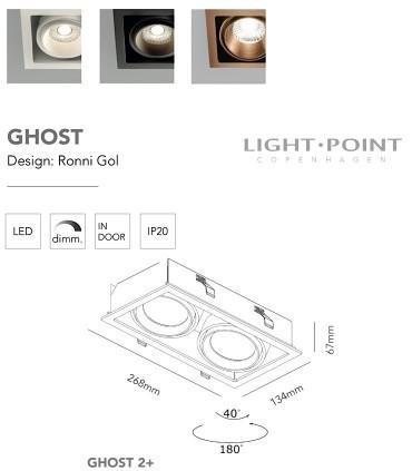 Dimensiones: Foco Empotrable Ghost 2+ Led 2L 20W oro rosa - LIGHT POINT