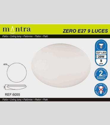 ZERO E27 Plafón redondo blanco Ø77cm - 9L E27 6055 - MANTRA