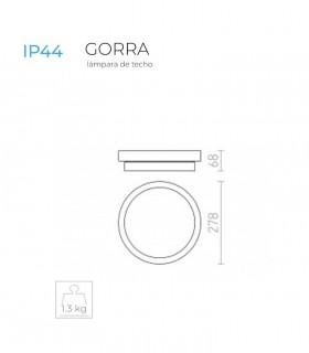 Dimensiones: Plafón redondo de bombillas GORRA E-14 Ø27cm  2L IP44