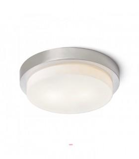Plafón redondo de bombillas GORRA NÍQUEL MATE  E-14 Ø27cm  2L IP44