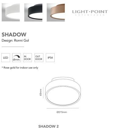 Características Shadow 2 oro rosa 13+4W Ø21cm - LIGHT POIN