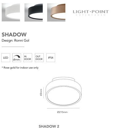 CaracterísticasPlafón-aplique de diseño Shadow 2 blanco o negro 13+4W Ø21cm - LIGHT POINTLIGHT POIN