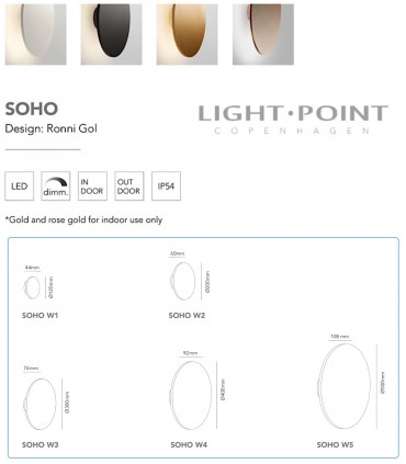 Dimensiones apliques SOHO de LIGHT POINT