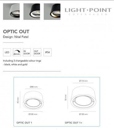Características y tamaños de OPTIC OUT oro rosa - LIGHT POINT