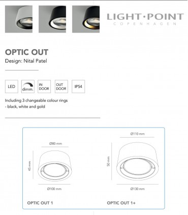 Características y tamaños de OPTIC OUT - LIGHT POINT