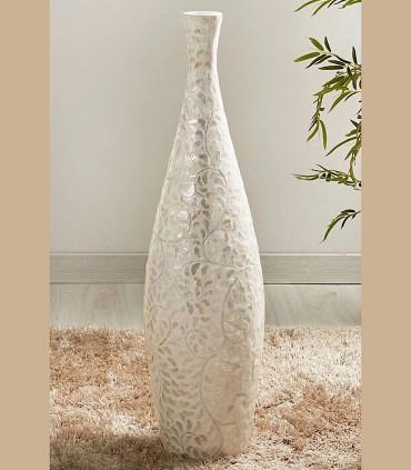 Jarrón de suelo alto madreperla ramas beige 90 cm