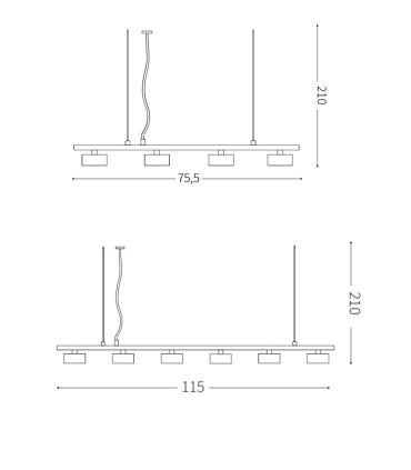Medidas Lámparas de techo MINOR LINEAR SP - IDEAL LUX