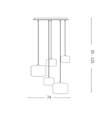 Medidas: Lámpara de techo EKOS SP5 - IDEAL LUX