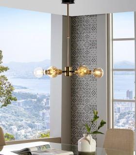 Lámpara de techo TILT 6 luces  Negro-oro satinado - ILUSORIA