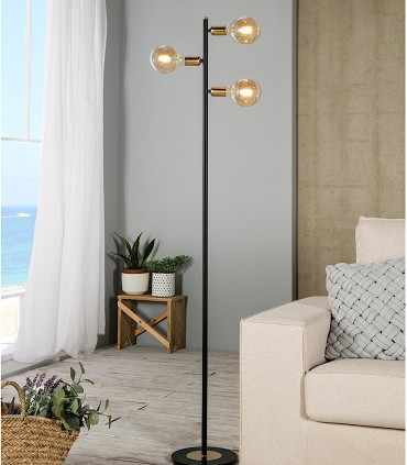 Lámpara de pie TILT 3 luces negro-oro satinado - ILUSORIA
