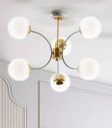 Lámpara MOON 6L Blanco-oro E27 - ILUSORIA