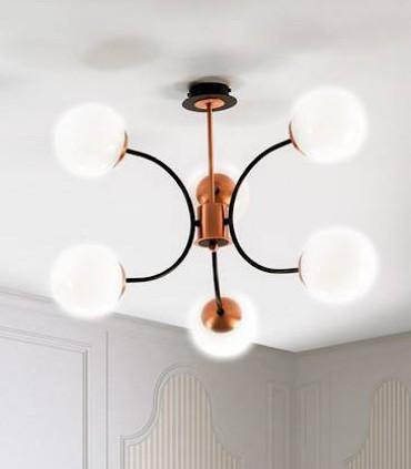 Lámpara MOON 6L negro-cobre satinado E27 - ILUSORIA