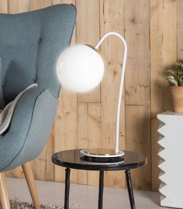Lámpara de mesa MOON 1L Blanco-oro E27 - ILUSORIA