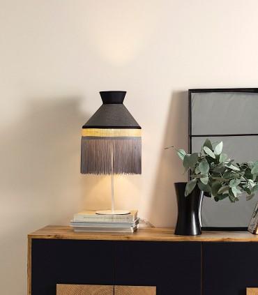 Lámpara de mesa PAMELA saco Pantalla negra y metal blanco 1L E27 - ILUSORIA