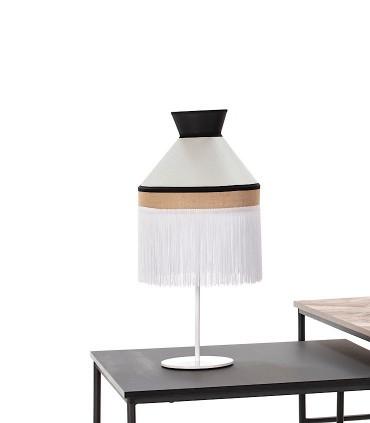 Lámpara de mesa PAMELA saco Pantalla blanca y metal blanco 1L E27 - ILUSORIA