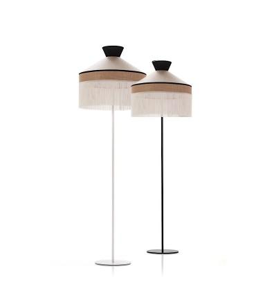Lámparas de pie PAMELA pantalla blanca y metal blanco, pantalla blanca y metal negro saco 1L E27 - ILUSORIA